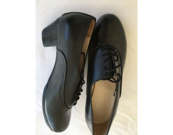 Cañailla man - black leather - sewn - size 39