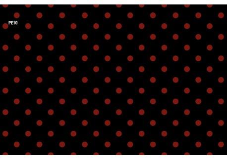 Negro lunares rojos