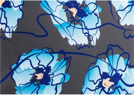 Fondo antracita flores turquesa
