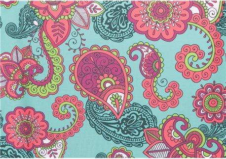 Fondo esmeralda dibujos ciruela-pistacho