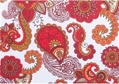 Fondo blanco dibujos ocre-rojo