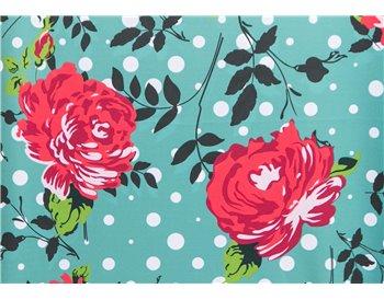 Fondo esmeralda flores rojas