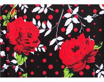 Fondo negro flores rojas lunar rojo