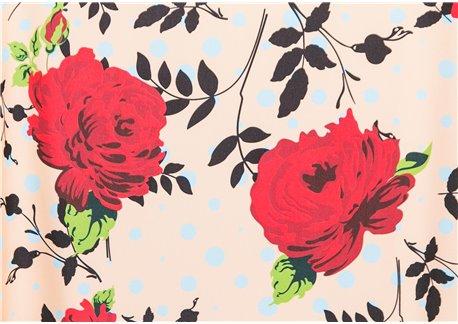 Fondo beige flores rojas