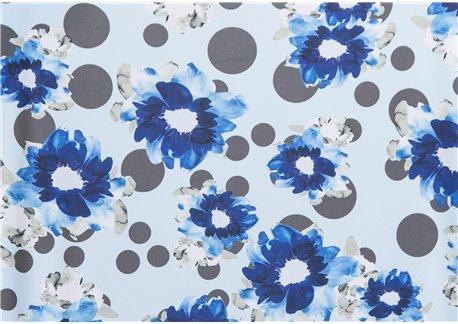 Fondo celeste flores azules lunar verde alpino