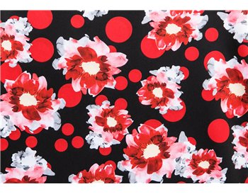 Black w/ red flowers and red polka-dots