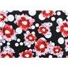 Fondo negro flores rojas lunar blanco