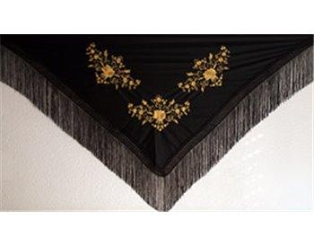 160cm x 75 cm + flecos 10cm. 7010 negro + bordado oro